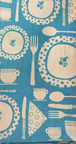 Artistic Accents Pack of 2 Kitchen Towels – Blue/Ivory Utensil & Dish Designs