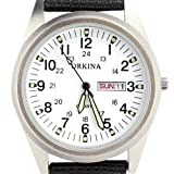 Orkina Mens White Dial Quartz Nylon Date Day Fabric Band Wrist Watch P104CA-SW