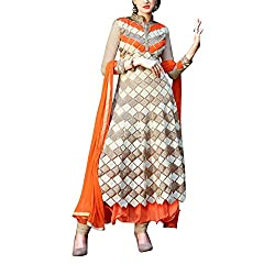 Destiny Enterprise Designer Gorgette Unstitched Orange and Cream Color Salwar Suit Dress Material for Women
