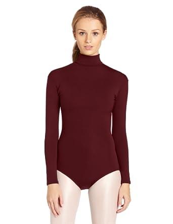 Capezio Women's Turtleneck Long Sleeve Leotard,Maroon,X-Small