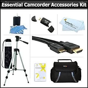 Essential Accessory Kit For Samsung F90, HMX-F90, HMX-F90BN, HMX-F90WN/XAA, HMX-F90BN/XAA HD Camcorder Includes 50 Tripod w/Case + Deluxe Camcorder Case / Bag + Micro HDMI Cable + Lens Cleaning Kit + Screen Protectors + USB 2.0 SD Card Reader + More