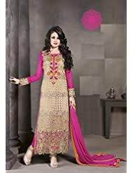 Designer Dress Material Cream Pink Semi Stiched Straight Cut Salwar Kameez Suit.