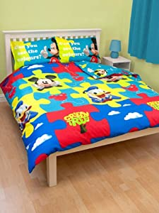 parure housse de couette linge de lit double mickey disney 200 x 200 2 personnes. Black Bedroom Furniture Sets. Home Design Ideas