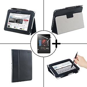 """TeckNet 7"""" Amazon Kinde Fire HD Étui en cuir avec support Amazon pour Kindle Fire HD, Support et le sort de veille + Film de protection écran + 2-in-1 Stylo/écran tactile stylo à encre gel - Noir"""