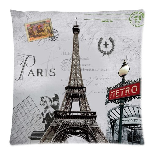 """Paris Metro Sign Eiffel Tower Retro Stamp Pattern Custom Zippered Pillow Cushion Case Throw Pillow Covers 20""""X20"""" (Twin Sides) front-981860"""