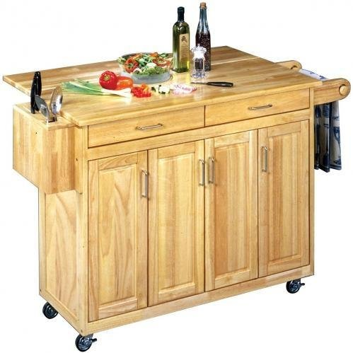 Cheap Home Styles Wood Top Kitchen Cart With Breakfast Bar – Natural – 5023-95 (B0060M1QO6)