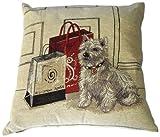 Urban Loft by Westex Tapestry Cushion, 20 by 20-Inch, White Dog