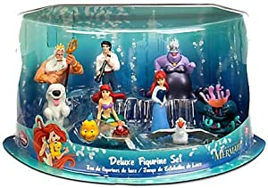 Disney Little Mermaid Exclusive 10 Piece Mini PVC Figure Collector Set [Ariel as mermaid, Ariel as human, Ursula, King Triton, Prince Eric, Sebastian, Flounder, Scuttle, Flotsam, Jetsam, & Max]