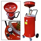 Portable Waste Oil Drain 20 Gallon Capacity Tank Air Operated w/ Wheels Hose ...