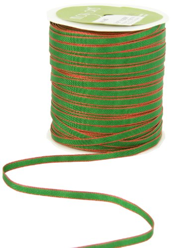 May Arts 1/8-Inch Wide Ribbon, Green with Red Edge