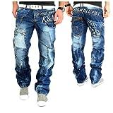 Kosmo Lupo Designer Jeans Hose Herren Cargo Style Blau Verwaschen Clubwear KM322 (36W / 32L)