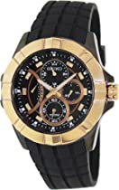 Seiko Chronograph Black Dial Rose Gold-Tone Stainless Steel Mens Watch SRL072