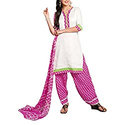 Destiny Enterprise Cotton Unstitched White and Pink Color Patiyala Suit Dress Material for Women