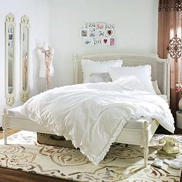 Kasandria® Bettgestell Nerja Weiß 140x200cm | Barock Stil | mit Geflecht | Ehebett | Bett | Mangoholz