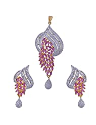 Nimbark Traders Brass And Metal White & Red Color Designer Pendent Set With Earrings For Women - B00RFRGV0O