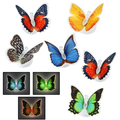 Twinkle Set Of 6 Fiber Optic Led Butterflies - Changes Colors And Flashes - Peel And Stick Adhesive Back