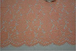 Red Eyelash lace fabric 1.5m*1.5m cord lace fabric high quality,multicolor african guipure lace Fabric for party wedding dress (Pink)