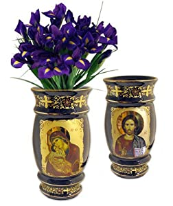 Amazon.com: Byzantine Icon Madonna and Child Christ Reversible Vase 6