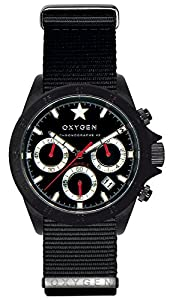 Oxygen Chrono Record 42 Black Unisex Quartz Watch with Black Dial Chronograph Display and Black Nylon Strap EX-C-REC-42-NN-BL