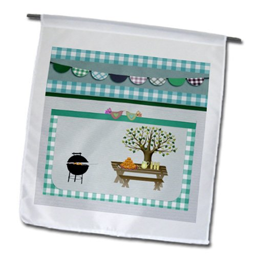 Fl_182716_1 Beverly Turner Picnic Design - Barbeque Pit, Picnic Table With Platter And Lemon Aid, Aqua Green Gingham - Flags - 12 X 18 Inch Garden Flag