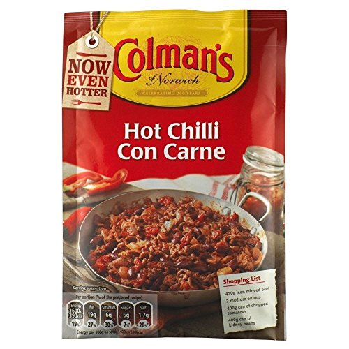 Colman Hot Chili con carne-Sauce Mix (40 g) - Packung mit 2