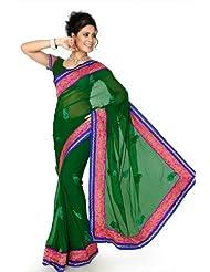 Designersareez Women Chiffon Embroidered Dark Green Saree With Unstitched Blouse(1295)