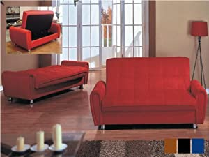 Two Arm Adjustable Sofa W/storage Under with Micro Fiber in Red #AD 81618