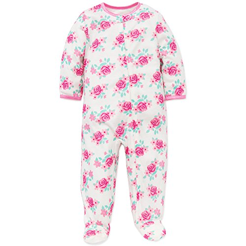 Little Me Baby Girls Floral Zip Footie Pajamas Footed Sleeper White Pink 12M