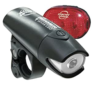 Planet Bike Beamer 1 Headllight and LED Rear Blinky 3 Bicycle Light Bundle Set