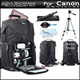 Vivitar Professional Photo DSLR Laptop Accessories Sling Backpack Case For Canon EOS Rebel T5i - T4i - SL1 - 60D - 50D - T3I - T3 - T2I - T1I - XSI - XS - Digital SLR and Blackmagic Pocket Cinema Camera + 50 Tripod + Lens Pen Cleaning Kit + Air Dust Blower +