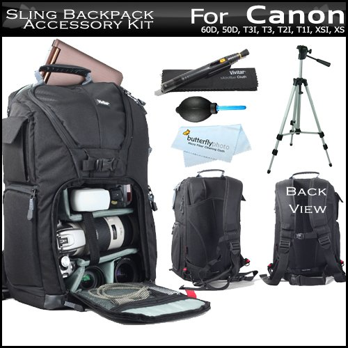 Vivitar Professional Photo / DSLR / Laptop / Accessories Sling Backpack Case For Canon EOS Rebel T5i, T4i, SL1, 60D, 50D, T3I, T3, T2I, T1I, XSI, XS, Digital SLR Camera + 50 Inch Tripod + Lens Pen Cleaning Kit + Air Dust Blower + MicroFiber Cleaning Cloth