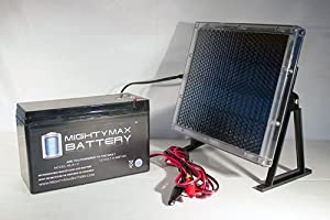 12V 9AH Replaces Leoch DJW12-7 + 12V Solar Panel Charger - Mighty Max Battery brand product from Mighty Max Battery