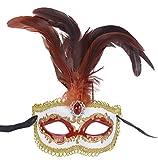 Deluxe-Disfraz de máscara de Mardi Gras Masquerade Máscara con Plumas