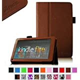 "Fintie (Brown) Slim Fit Folio Stand Leather Case for Amazon Kindle Fire 7"" Tablet (does not fit Kindle Fire HD)"