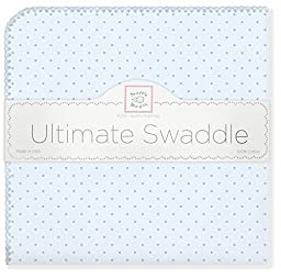 SwaddleDesigns Ultimate Receiving Blanket, Pastel Polka Dots, Pastel Blue