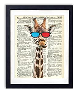Giraffe With 3-D Glasses Upcycled Vintage Dictionary Art Print 8x10