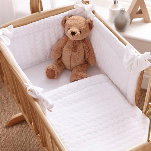 Clair de Lune Marshmallow 2 Piece Crib/Cradle Quilt & Bumper Bedding Set, White