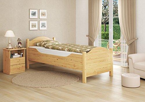 Seniorenbett extra hoch Rollrost 90x220 Überlänge Holzbett Einzelbett Gästebett 60.40-09-220