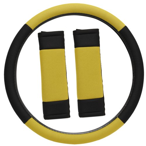 Oxgord Sport Mesh Steering Wheel Cover And Seat Belt Pad Set For The Chevrolet Celebrity Coupe In Yellow & Black Mesh front-1055564