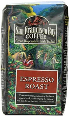 San Francisco Bay Coffee Whole Bean, Espresso Roast, 12 Ounce (Pack of 3)