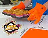 Grilling Gloves Barbecue Gloves - BBQ Gloves Silicone - Bonus Mat - Silicone Mitts For Cooking Silicone Gloves - Cooking Gloves Heat Resistant Silicone