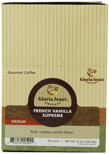Gloria Jean's Medium Roast K-Cup for Keurig Brewers, French Vanilla Supreme Coffee (Pack of 96)