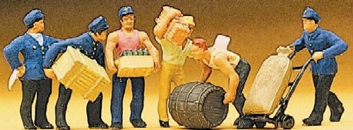 Delivery Men (6) w/Crates HO Scale Preiser Models