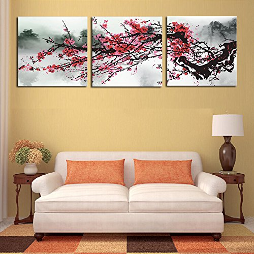 Chakit Unframed 3 Sets Red Plum Blossom Flowers Wall Pictures For Living Room Large HD Wall Art Canvas Modular Pictures Oil Painting(30cmx30cmx3pcs) Botanical Contemporary Rug