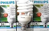 2 X philips 24W Energy Saver Light Bulb 24W bayonet cap CFL Cool White Spiral Light New