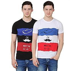 OMFG&CO Men's Cotton T-Shirt (Pack Of 2) (IM-M-T_28_White Black_Large)