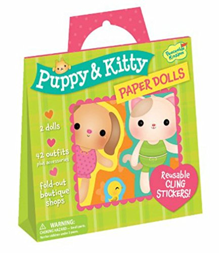 Peaceable Kingdom / Puppy & Kitty Paper Dolls Reusable Sticker Tote front-706896