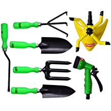 Visko GTK Garden Tool Kit (Green, Black And Yellow, 7-Pieces)