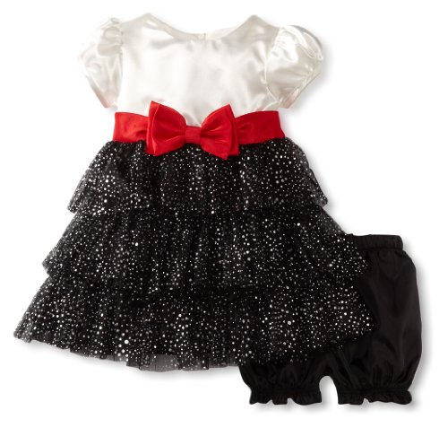 Children's Apparel Network Babygirls Infant Ruffle Shimmer Woven Dress, Black, 24 Months Picture
