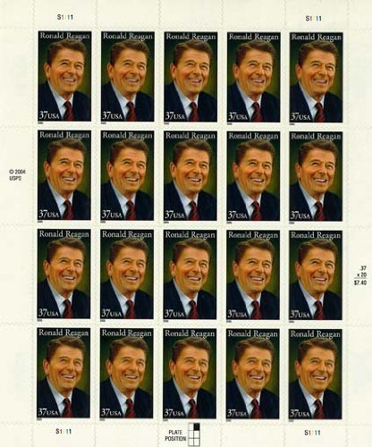 2005 RONALD REAGAN #3897 Pane of 20 x 37 cents US Postage Stamps - 1